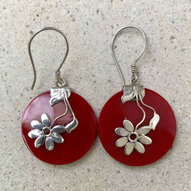 ER 08069 CR-BALI SILVER EARRINGS WITH RED CORAL