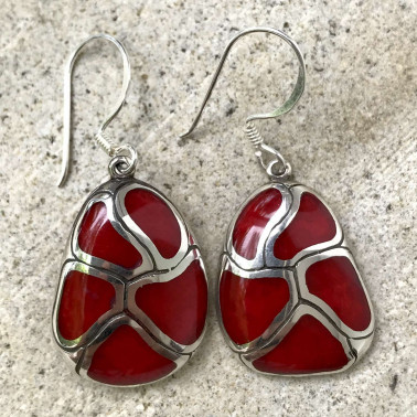 ER 07807 CR-BALI SILVER EARRINGS WITH RED CORAL