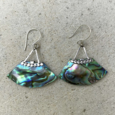 ER 13645 AB-BALI SILVER EARRINGS WITH ABALONE