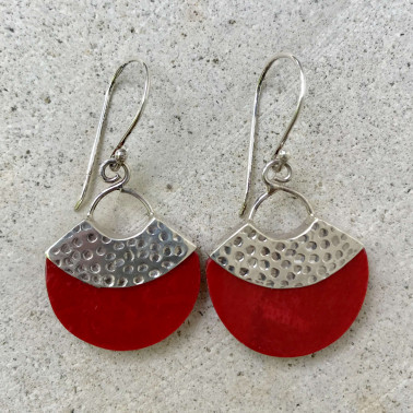 ER 13345 CR-BALI SILVER EARRINGS WITH RED CORAL