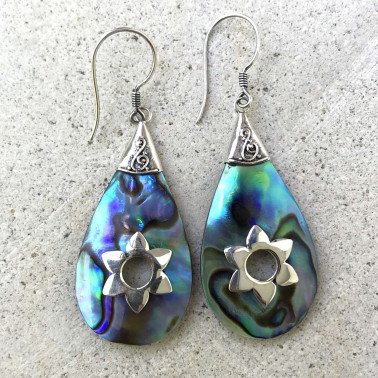 ER 13684 AB-BALI SILVER EARRINGS WITH ABALONE