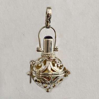 BD 08299-1 PC OF 925 BALI SILVER HARMONY BALL PENDANT WITH MIX STONE