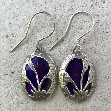 ER 11096 AB-BALI SILVER EARRINGS WITH ABALONE