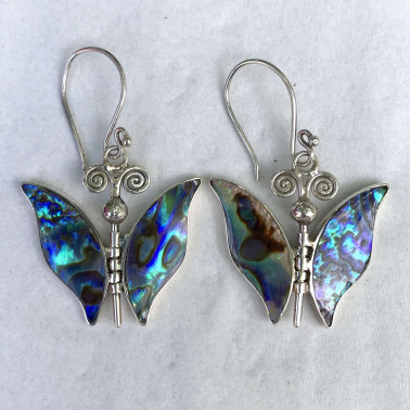 ER 08075 AB-BALI SILVER EARRINGS WITH ABALONE