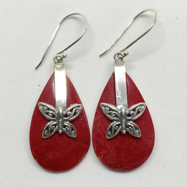 ER 13621 CR-BALI SILVER EARRINGS WITH RED CORAL