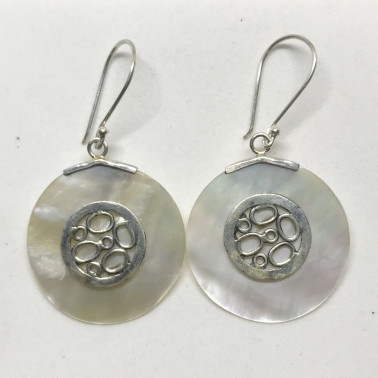 ER 09776 MP-BALI SILVER EARRINGS WITH MOP