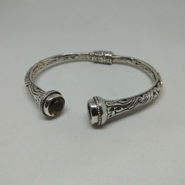 BR 13851-1 PC OF HAND CARVED 925 BALI SILVER BRACELET WITH  CITRINE
