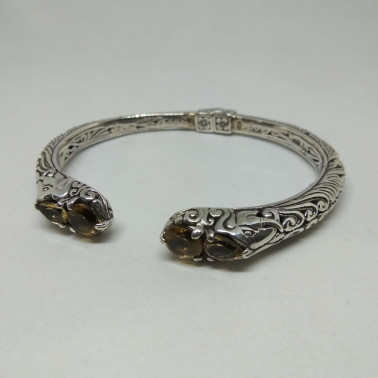 BR 13853-1 PC OF HAND CARVED 925 BALI SILVER BRACELET WITH  CITRINE