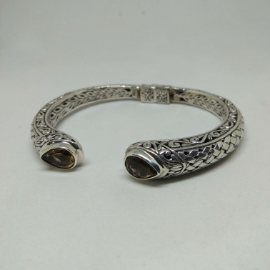 BR 13854-1 PC OF HAND CARVED 925 BALI SILVER BRACELET WITH  CITRINE