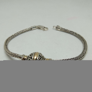 BR 13626-1 PC OF HAND CARVED 925 BALI SILVER BRACELET WITH GOLD