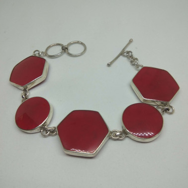 BR 13366-1 PC OF HAND CARVED 925 BALI SILVER BRACELET WITH CORAL