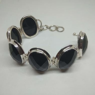 BR 09258-1 PC OF HAND CARVED 925 BALI SILVER BRACELET WITH ONYX