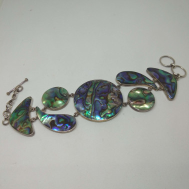 BR 07189-1 PC OF HAND CARVED 925 BALI SILVER BRACELET WITH ABALONE SHELL