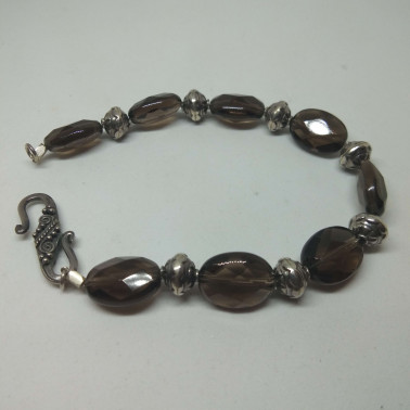 BR 05492-1 PC OF HAND CARVED 925 BALI SILVER BRACELET WITH SMOKY