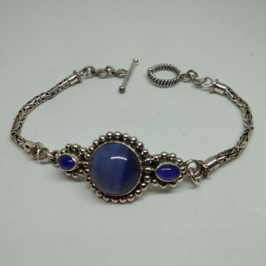 BR 00094-1 PC OF HAND CARVED 925 BALI SILVER BRACELET WITH BLUE AGATE