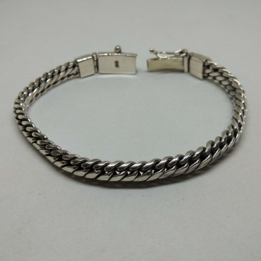 BR 08099 C-1 PC OF HAND CARVED 925 BALI SILVER BRACELET 7MM - 200MM