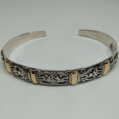 BR 13944-1 PC OF HAND CARVED 925 BALI SILVER BRACELET WITH GOLD
