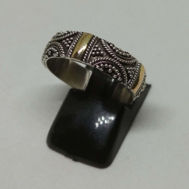 RR 12354-1 PC OF HAND CARVED 925 BALI SILVER RINGS WITH GOLD
