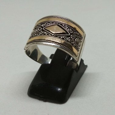 RR 13839-1 PC OF HAND CARVED 925 BALI SILVER RINGS WITH GOLD
