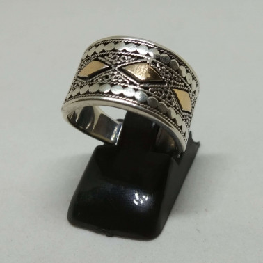 RR 13330 B-1 PC OF HAND CARVED 925 BALI SILVER RINGS WITH GOLD