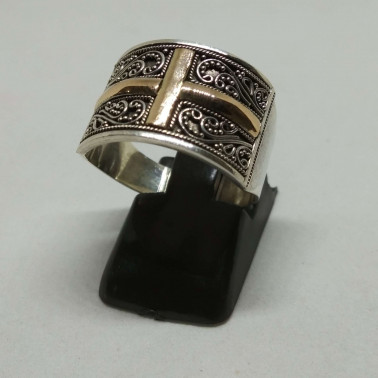RR 13841-1 PC OF HAND CARVED 925 BALI SILVER RINGS WITH GOLD