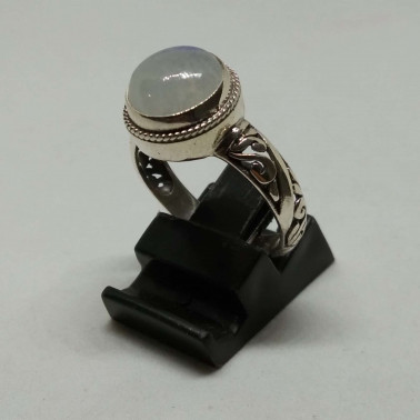 RR 13940 A-1 PC OF HAND CARVED 925 BALI SILVER RINGS WITH MOONSTONE