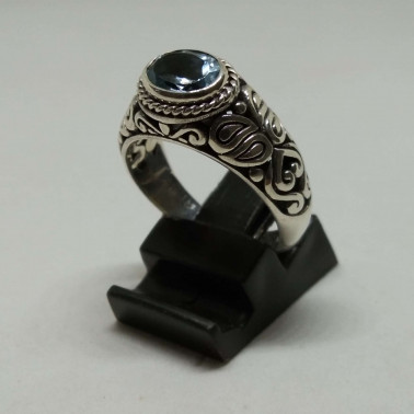 RR 13936-1 PC OF HAND CARVED 925 BALI SILVER RINGS WITH BLUE TOPAZ