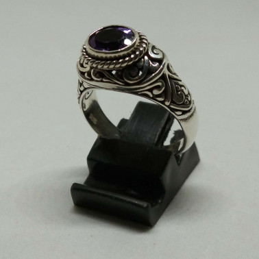 RR 13938-1 PC OF HAND CARVED 925 BALI SILVER RINGS WITH AMETHYST