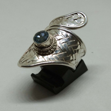 RR 13570-1 PC OF HAND CARVED 925 BALI SILVER RINGS WITH BLUE TOPAZ