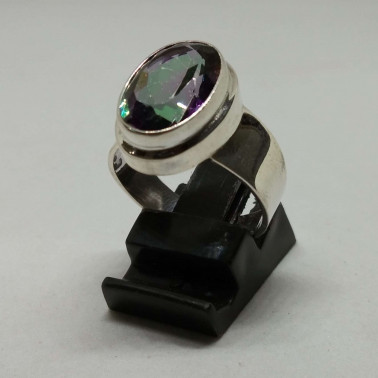 RR 11247-1 PC OF HAND CARVED 925 BALI SILVER RINGS WITH MYSTIC TOPAZ