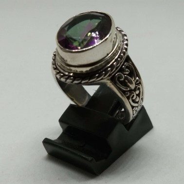 RR 13746-1 PC OF HAND CARVED 925 BALI SILVER RINGS WITH MYSTIC TOPAZ
