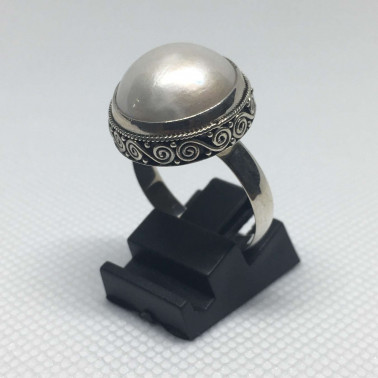 RR 12989-1 PC OF HAND CARVED 925 BALI SILVER RINGS WITH PEARL