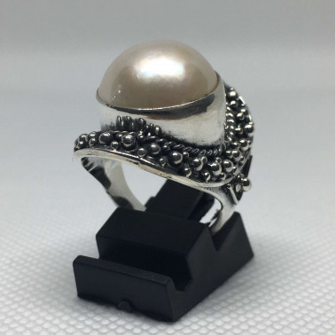 RR 11243-1 PC OF HAND CARVED 925 BALI SILVER RINGS WITH PEARL