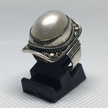 RR 13801-1 PC OF HAND CARVED 925 BALI SILVER RINGS WITH PEARL