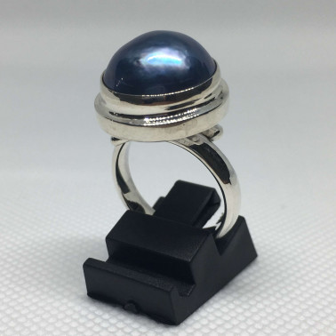 RR 09043-1 PC OF HAND CARVED 925 BALI SILVER RINGS WITH BLUE PEARL