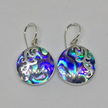 ER 12379 B-1 PC OF HAND CARVED 925 BALI SILVER EARRINGS WITH ABALONE SHELL