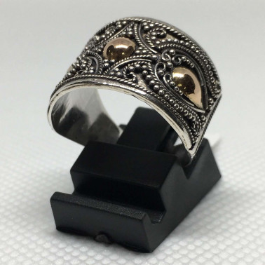 RR 13329 B-1 PC OF HAND CARVED 925 BALI SILVER RINGS WITH GOLD
