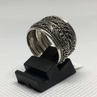 RR 13053-1 PC OF HAND CARVED 925 BALI SILVER RINGS