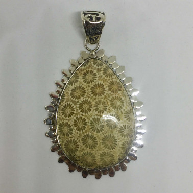 PD 11745 B-1 PC OF HAND CARVED 925 BALI SILVER PENDANT WITH FOSSIL CORAL