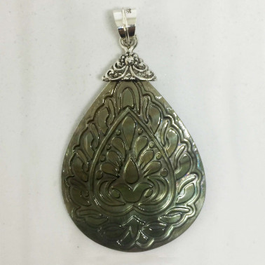 PD 13753 A-1 PC OF HAND CARVED 925 BALI SILVER PENDANT WITH SHELL