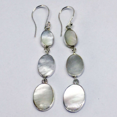 ER 13771 MP-1 PC OF HAND CARVED 925 BALI SILVER EARRINGS WITH SHELL