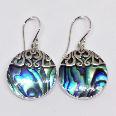 ER 13768 AB-1 PC OF HAND CARVED 925 BALI SILVER EARRINGS WITH ABALONE SHELL