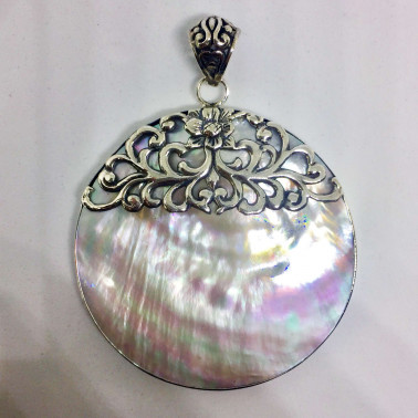 PD 13768 MP-1 PC OF HAND CARVED 925 BALI SILVER PENDANT WITH PEARL