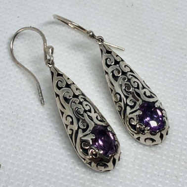 ER 13889 AM-BALI SILVER EARRINGS WITH AMETHYST