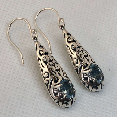 ER 13889 BT-BALI SILVER EARRINGS WITH BLUE TOPAZ