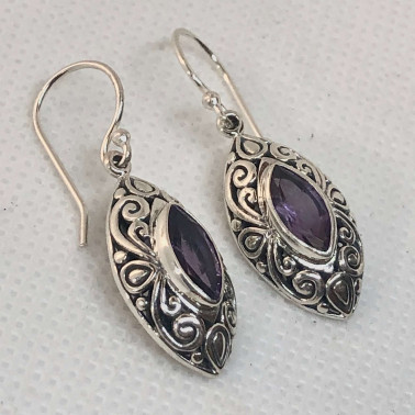ER 14648-BALI SILVER EARRINGS WITH AMETHYST