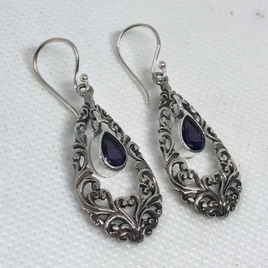 ER 14518 AM-BALI SILVER EARRINGS WITH AMETHYST