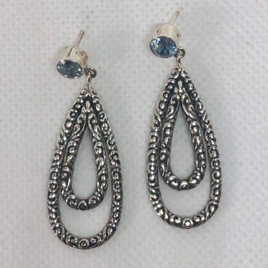 ER 14446 BT-BALI SILVER EARRINGS WITH BLUE TOPAZ