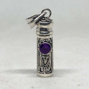PD 14382 AM-Perfume Prayer Pill Box 925 Bali Silver Pendant