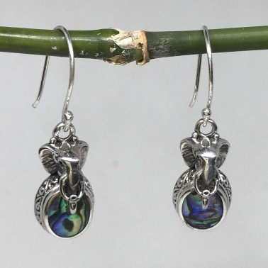 ER 14437 AB-BALI 925 STERLING SILVER EARRINGS WITH ABALONE